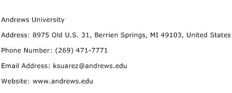 Andrews University Address Contact Number