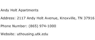 Andy Holt Apartments Address Contact Number