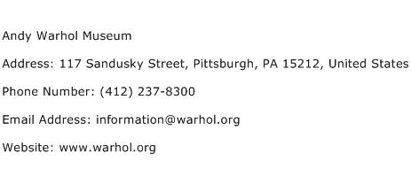 Andy Warhol Museum Address Contact Number