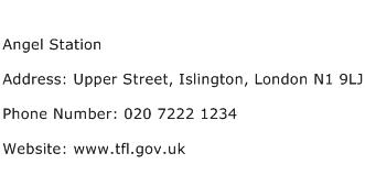 Angel Station Address Contact Number