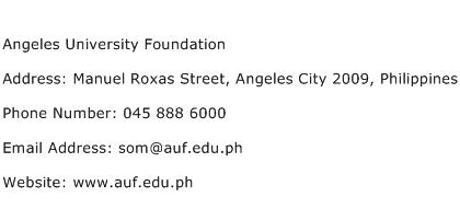 Angeles University Foundation Address Contact Number