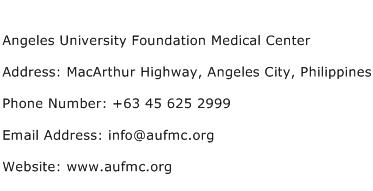 Angeles University Foundation Medical Center Address Contact Number
