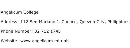 Angelicum College Address Contact Number