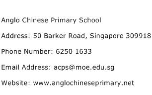 Anglo Chinese Primary School Address Contact Number