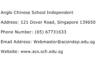 Anglo Chinese School Independent Address Contact Number