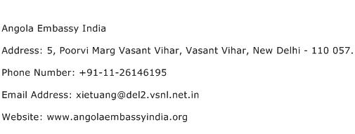 Angola Embassy India Address Contact Number