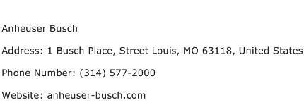 Anheuser Busch Address Contact Number