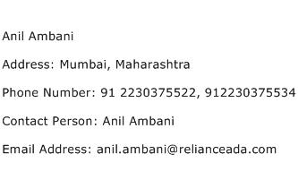 Anil Ambani Address Contact Number