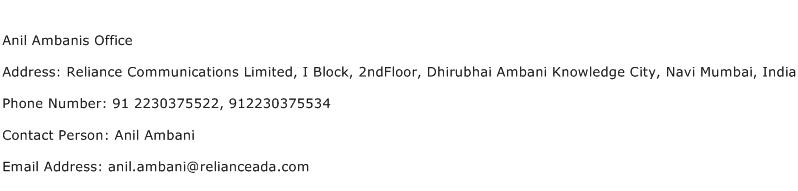 Anil Ambanis Office Address Contact Number