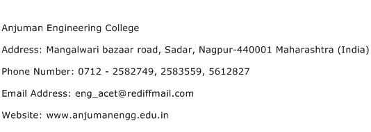 Anjuman Engineering College Address Contact Number