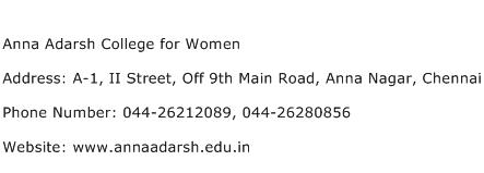 Anna Adarsh College for Women Address Contact Number