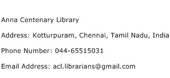 Anna Centenary Library Address Contact Number