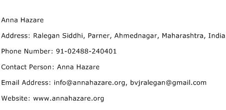 Anna Hazare Address Contact Number