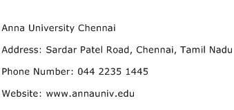 Anna University Chennai Address Contact Number
