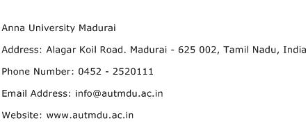 Anna University Madurai Address Contact Number