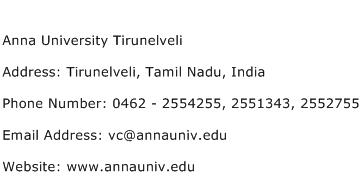 Anna University Tirunelveli Address Contact Number