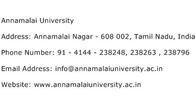 Annamalai University Address Contact Number