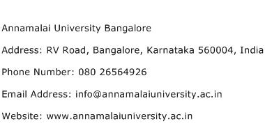 Annamalai University Bangalore Address Contact Number