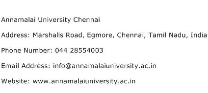 Annamalai University Chennai Address Contact Number