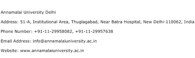 Annamalai University Delhi Address Contact Number