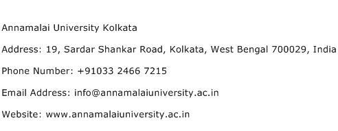 Annamalai University Kolkata Address Contact Number