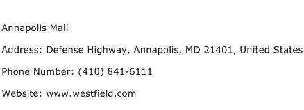 Annapolis Mall Address Contact Number
