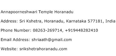 Annapoorneshwari Temple Horanadu Address Contact Number