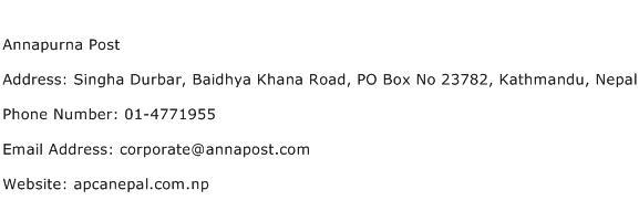 Annapurna Post Address Contact Number