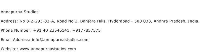Annapurna Studios Address Contact Number