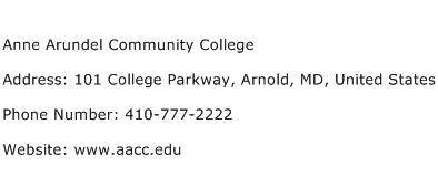 Anne Arundel Community College Address Contact Number