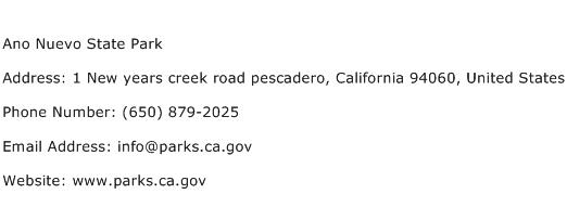 Ano Nuevo State Park Address Contact Number