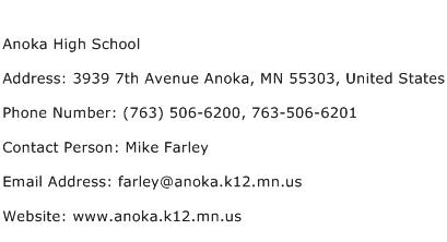 Anoka High School Address Contact Number