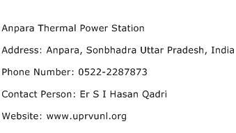 Anpara Thermal Power Station Address Contact Number