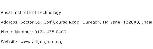 Ansal Institute of Technology Address Contact Number