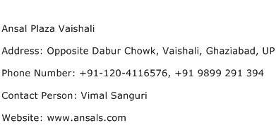 Ansal Plaza Vaishali Address Contact Number