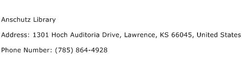 Anschutz Library Address Contact Number