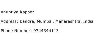Anupriya Kapoor Address Contact Number