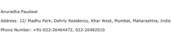 Anuradha Paudwal Address Contact Number