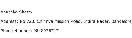 Anushka Shetty Address Contact Number