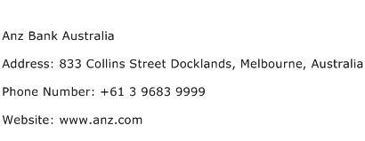 Anz Bank Australia Address Contact Number