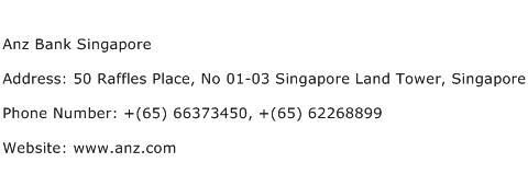 Anz Bank Singapore Address Contact Number