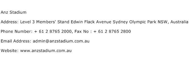 Anz Stadium Address Contact Number