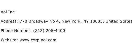Aol Inc Address Contact Number
