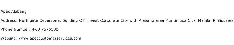 Apac Alabang Address Contact Number