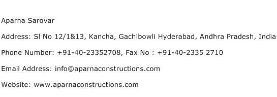 Aparna Sarovar Address Contact Number