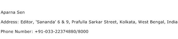 Aparna Sen Address Contact Number