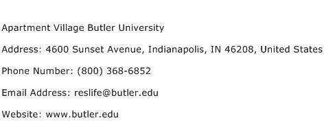 Apartment Village Butler University Address Contact Number