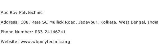 Apc Roy Polytechnic Address Contact Number