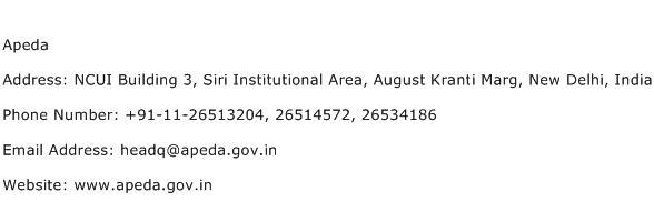 Apeda Address Contact Number