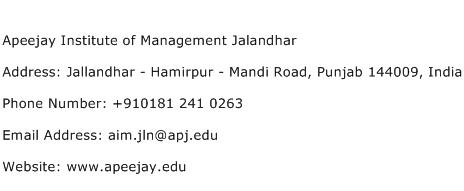 Apeejay Institute of Management Jalandhar Address Contact Number